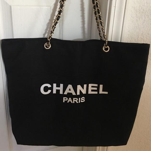 e9f2c2d94331 Bags | Chanel Canvas Tote Gold Chain Shopper Bag Vip Gift | Poshmark